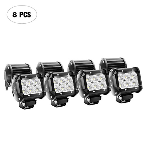 Nilight LED Light Bar 8PCS 4Inch 18W LED Bar 1260lm Flood Led Off Road Driving Lights Led Fog Lights Jeep Lighting LED Work Light for Van Camper SUV ATV ,2 Years Warranty ()