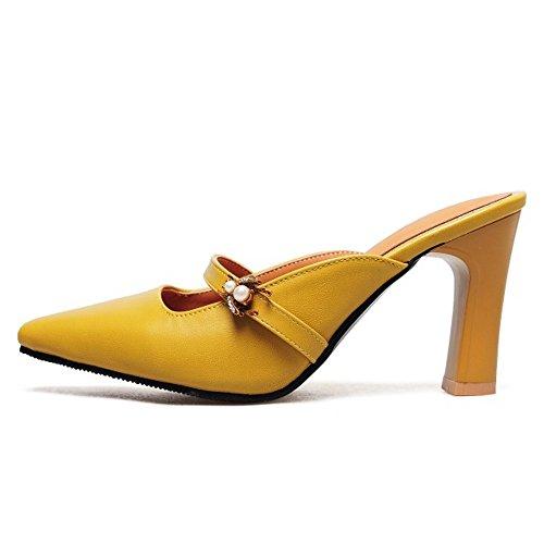Mules Femmes Sandales Ferme RAZAMAZA Bout yellow FqaOWw5n