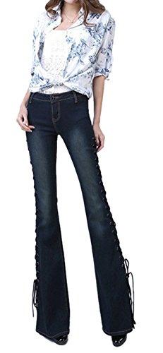 Lingswallow Women's Elegant Slim Fit Jeans Stretch Bellbottoms Denim Pants Blue