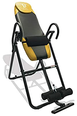 Body Vision IT9825 Premium Inversion Table with Adjustable Head Pillow & Lumbar Support Pad, Yellow - Heavy Duty up to 250 lbs