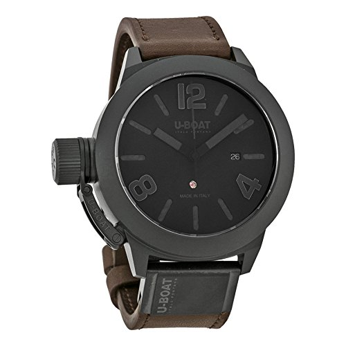 U Boat Classico Black Dial Brown Leather Mens Watch 7338