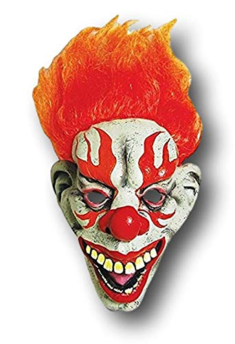 Fire The Clown Halloween Mask Accessory with Fiery Orange Wig]()