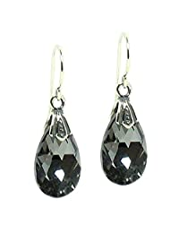 Queenberry Silver-Night Swarovski Elements Teardrop Crystal Sterling Silver Dangle Earrings
