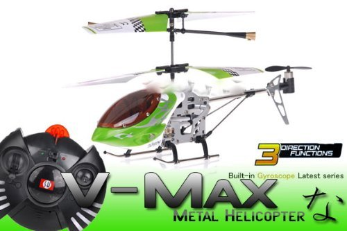 3 Channel Mini V-Max RC Electric Indoor Co-Axial Helicopter w/ LED Lights & Full Metal Body Frame (COLOR SENT AT RANDOM) DESIGNS MAY VARY SLIGHTLY
