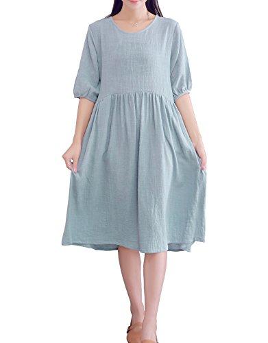 YUHEYUHE Womens Casual Loose Soft Clothing Short Sleeves Summer Cotton Linen Midi Dress