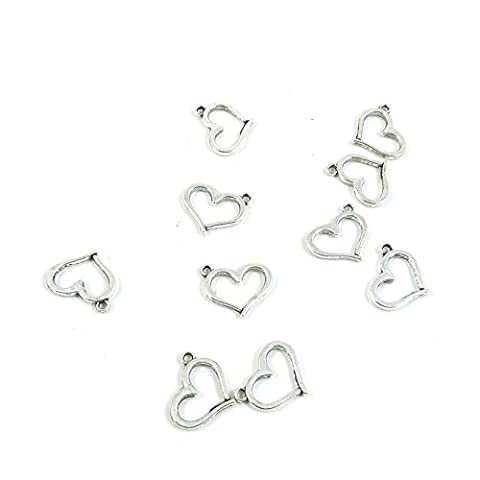 20 Pieces Antique Silver Tone Jewelry Making Charms Pendant Findings Craft Supplies Bulk Lots Arts D2ZG7 Love - Heart Charm Jewelry Finding