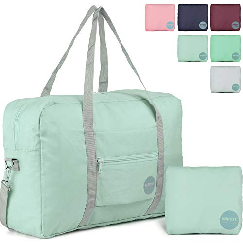WANDF Foldable Travel Duffel Bag with Shoulder Strap Water-Resistant for Luggage Sport Gym (Mint Green 2019) -