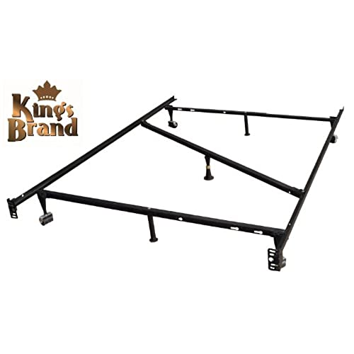 Heavy Duty Metal Bed Frame With Rug Rollers And Locking Wheels Full Size