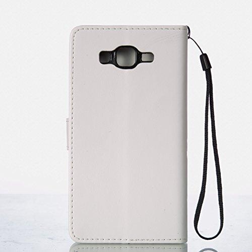 JIALUN-Personality teléfono shell Funda Samsung Galaxy ON7, caja de folio retro en color sólido, flores en relieve cubierta de la caja de mariposa para Samsung Galaxy ON7 Seguridad y Moda ( Color : Wh White