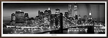 Manhattan Skyline by Night – New York City – Framed B W Photography Inspirational Door Poster Print Size 62 inches x 21 inches