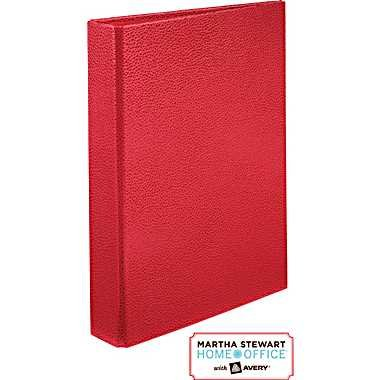 "Martha Stewart Home Office With Avery Premium Shagreen Small-Format Binder, 1"" Gap-Free Rings, 5 1/2 x 8 1/2 (Red)"