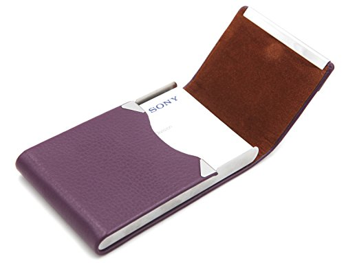 Business Card Leather Case Holder (Bussiness Name Card Case/Slim Credit ID Card Holder With Magnetic Shut - Purple)