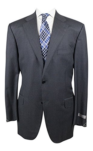 Canali Charcoal Gray Pinstripe Wool 2 button Suit Size 56/46 (Button Gray Pinstripe Wool Suit)