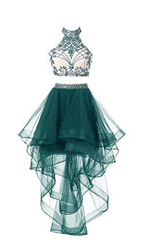 Teal Homecoming Dress (HEIMO Women's 2 Pieces Beaded Keyhole Back Homecoming Dresses Halter Beading Prom Gowns Short H199 12 Teal)