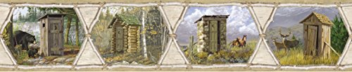 Outhouse Wallpaper Borders - Chesapeake HTM48551B Francis Cream Privy Collection Wallpaper Border