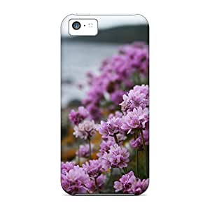 Protective Tpu Case With Fashion Design For Iphone 5c (lilac Flowers On The Beach)