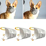tchrules Dog Protective Muzzle Mask 3 Pack,Cotton Cloth Adjustable Breathable Anti Fog Smoke PM2.5 Puppy Mouth Guard Mask Cover with Adjustable Strap Inner Steel Ring for Small Medium Dog (M)