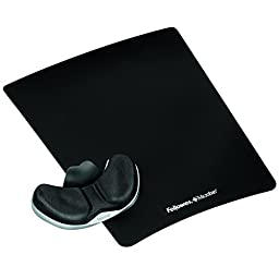 Fellowes Professional Series Gliding Palm Support with Microban Protection, and Mouse Pad, Fabric, Black (9180301)