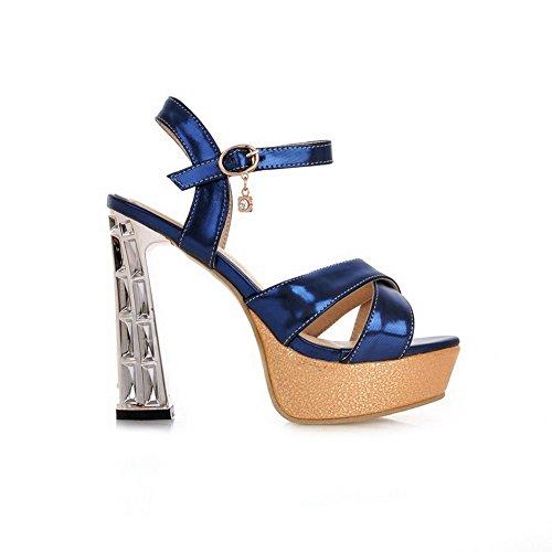 Blue Heels High Women's Assorted Color Toe Pu WeenFashion Buckle Sandals Open OWPFvv