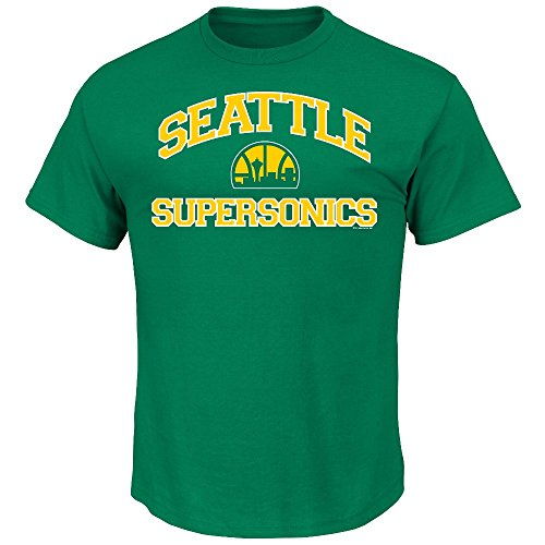 NBA Seattle Supersonics 1975-95 Men's Majestic Athletics Heart and Soul Short Sleeve Crew Neck T-Shirt, Small, Kelly Green