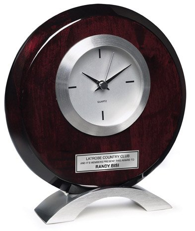 Mahogany Award Base - Circular Silver Table Desk Cherry Clock with Silver Modern Base and Silver Engraving Plate. Personalized Anniversary Clock, Employee Recognition Service Award, Wedding or Retirement Gift