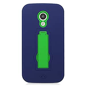 For Motorola Moto G2 (Moto G 2014) - EagleCell Hybrid Armor Skin Protective Case Cover with Stand - Green/Blue