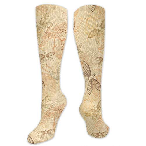 - High Ankle Compression Crew Sock, Cushion Multi Performance Sole Sock, Vintage Style Birds And Dragonfly Chic Animal