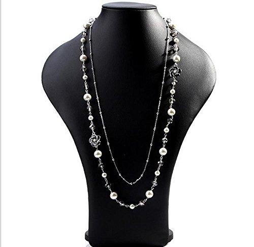 MISASHA Multipurpose Long Black Flower Faux Imitation Pearl Long Bridal - Chanel Cat Eye
