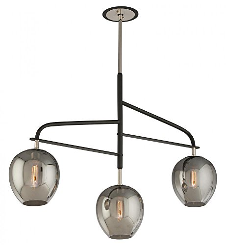 Troy Lighting Odyssey 3-Light Pendant - Carbide Black and Polished Nickel with Plated Smoked Glass