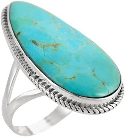 Turquoise Ring in Sterling Silver 925 & Genuine Turquoise Size 6 to 13