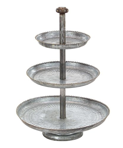 - Deco 79 Farmhouse 3-Tiered Round Metal Tray Stand, 22
