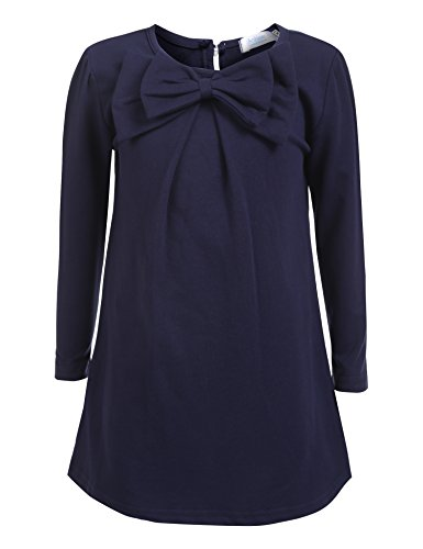 Arshiner Kids Girl O-Neck Long Sleeve Solid Bow-tie (Girls Navy Blue Dress)