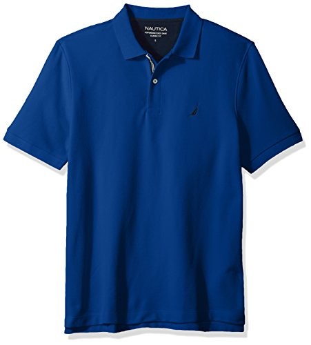 Nautica Men's Classic Short Sleeve Solid Polo Shirt, Monaco Blue Medium (Blend Pique Knit Sport Shirt)