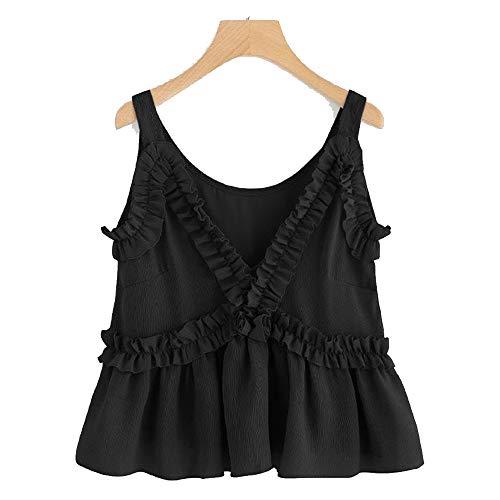 LIM&SHOP Women Crop Top, Summer Camisole Sexy Slim Spaghetti Strap Tank Casual V Neck Ruffles PleaVest Beach Girls