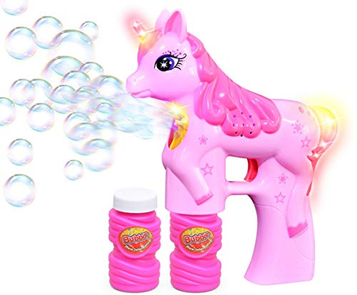 Haktoys Unicorn Bubble Shooter Gun | Battery Operated Bubble Blaster Toy with LED Flashing Lights for Toddlers and Kids | Parent-Friendly Noise-Free Design, Extra Refill Bottle (Batteries Included)