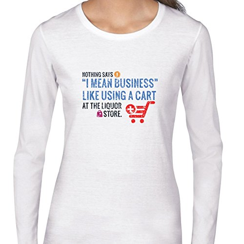 Hollywood Thread Shopping Cart at Liquor Store Party Sarcastic Women's Long Sleeve - Hollywood Stores Shopping
