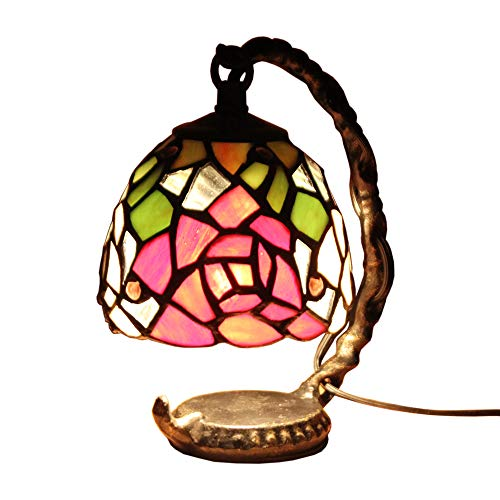 (FBOSS Tiffany Style Table Lamps Handcrafted Multicolor Peony Flowers Mini Stained Glass Shade for Living Room Children's Room Bedroom Beside Lamps)
