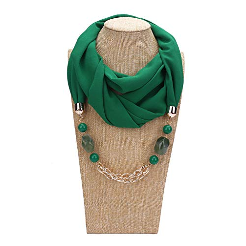 - Kofun Women Scarf, 180X48Cm Women Solid Color Geometric Beaded Stone Pendant Chiffon Scarf Metal Chain Charm Necklace Collar Ethnic Style Infinity Circle Loop Sun Proof Shawl Scarf and Shawl Green