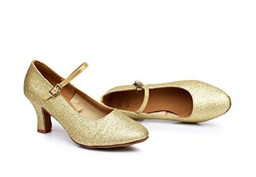 de baile lentejuelas de de de cm para cuadrados para con baile modernos ShangYi zapatos de latino adultos baile oro una altura mujer zapatos 5 baile suave fondo de Zapatos 0qnwxa7E