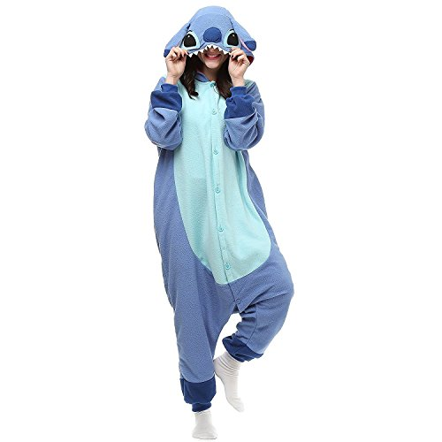 Lazutom Unisex Adult Cosplay Costume Onesie Fancy Dress Costume Hoodies Pajamas Outfit for Christmas Halloween Carnival (L, Lilo and Stitch Blue)