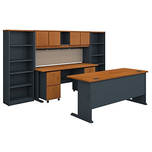 Bush Business Furniture Series A 72W Desk with Credenza, Hutch, Bookcases and Storage in Natural Cherry and Slate ()