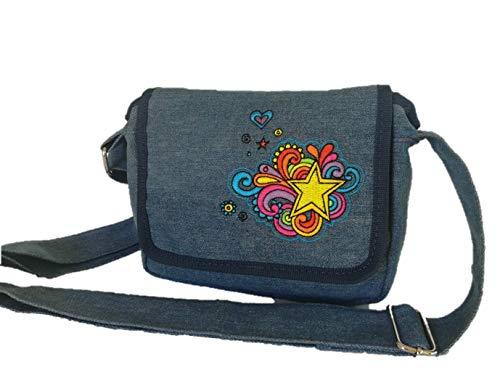 Embroidered denim girls purse cross-body shoulder bag
