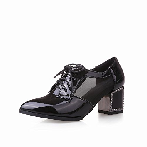 Carol Scarpe Moda Donna Lace-up Voile Mesh Stile Britannico Grosso Paio Di Scarpe Oxford Tacco Medio Nero