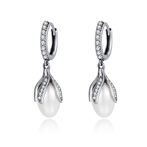 The Kiss Blooming Flower Petal Freshwater Cultured Pearl 925 Sterling Silver Dangle Earrings (Cultured Flower Petal Pearl)