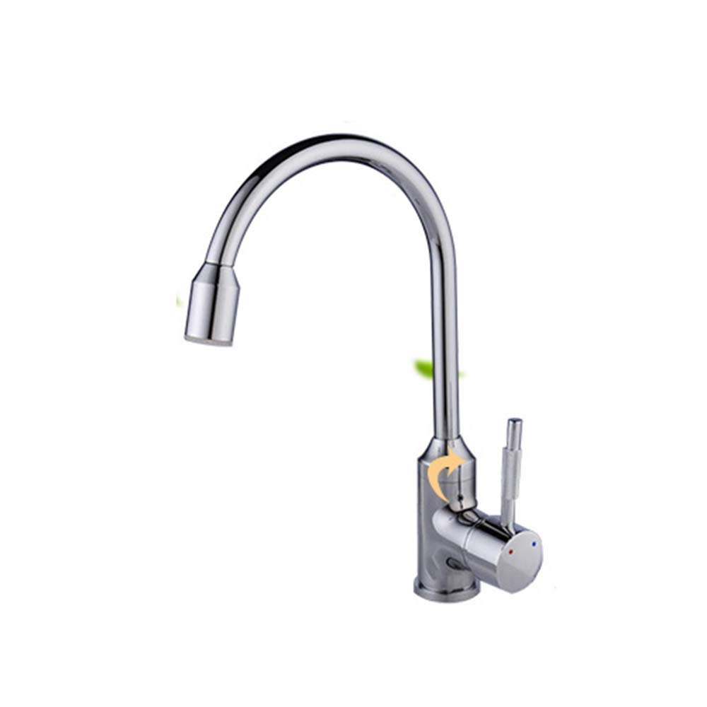 HDLWIS Kitchen Sink Faucet, Temperature controlled lighted stylish kitchen faucet, chrome plated Mixing tap