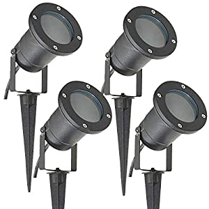 4 Pack Outdoor Garden Spike Lights Ground Mount or Watt IP65 Matt Black SPBLK04