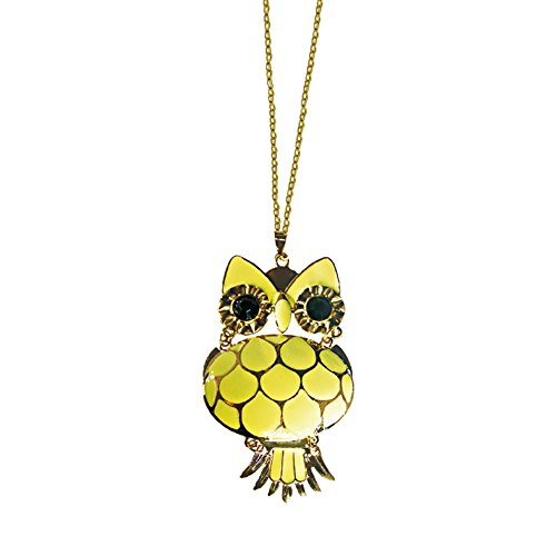 Twinkle Enamel Pendant Necklace - Opera Owl (Yellow) (Homemade Bird Costumes For Adults)