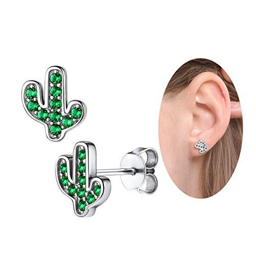 arete de plata verde CZ para mujer y niña, diseño de cactus con cristales finos naturales