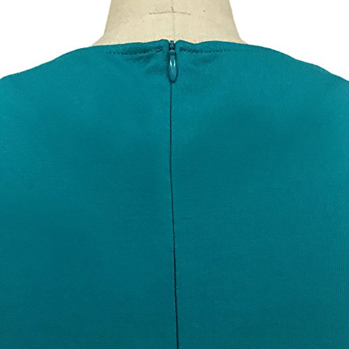 Minetom Damen Elegante V-Ausschnitt Kurzarm Lotusblatt Saum Tunika Cocktailkleid Abendkleid Business Kleid Knielanges Grün VlXwi