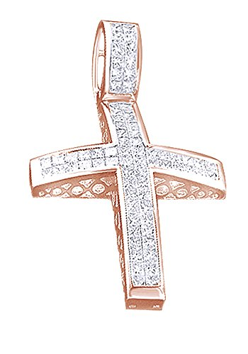 4.57 Ct Princess Cut White CZ Hip Hop Cross Pendant In 14K Gold Over Sterling Silver by Wishrocks